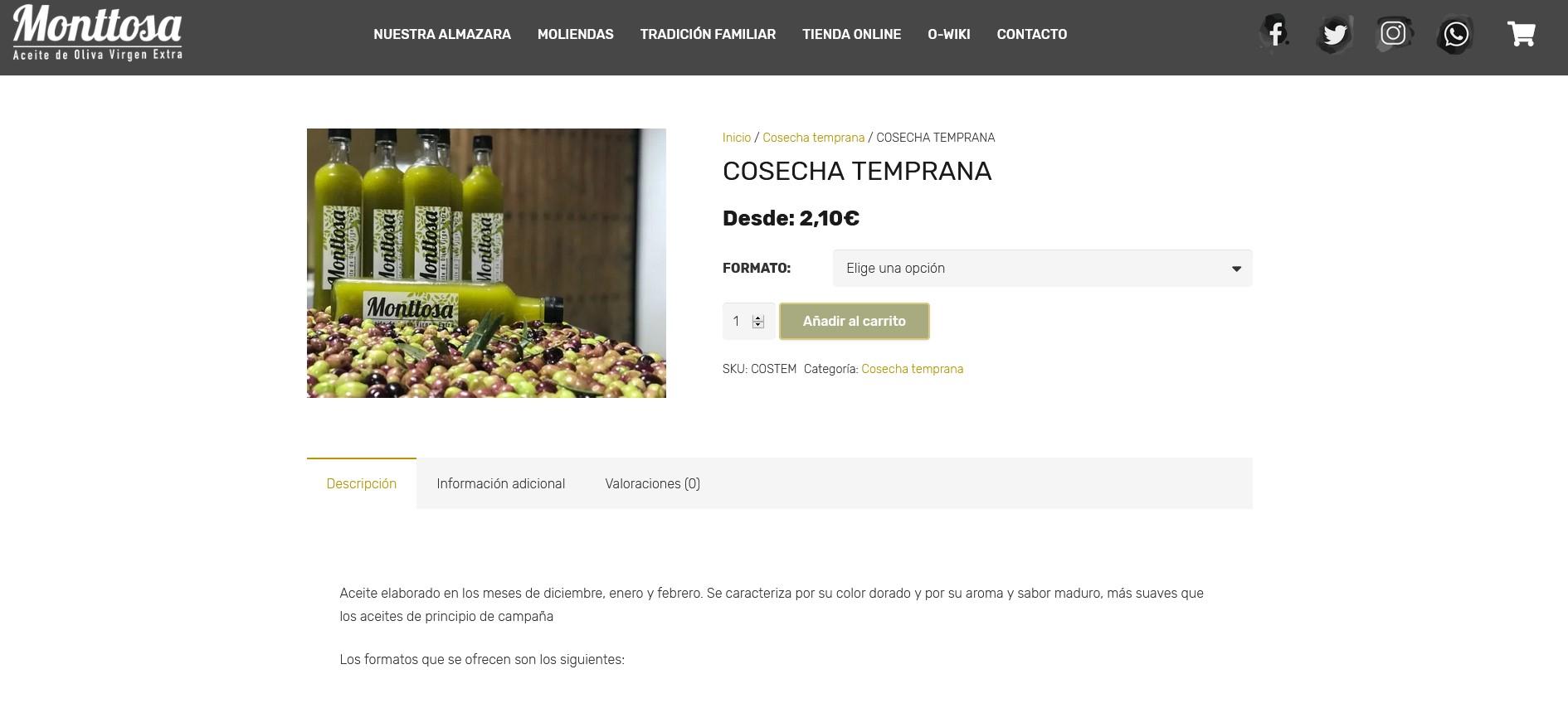 Aceites Monttosa tienda online